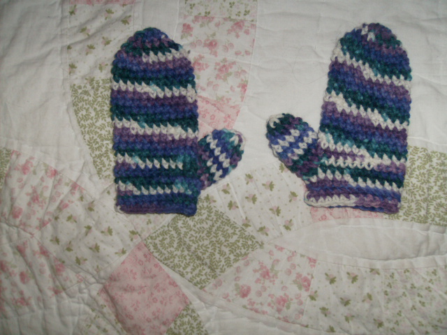 purple kids mittens